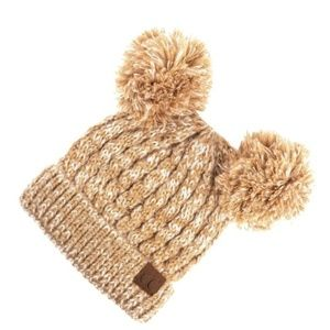C.C.Double Pompom Beanie Adult  Taupe